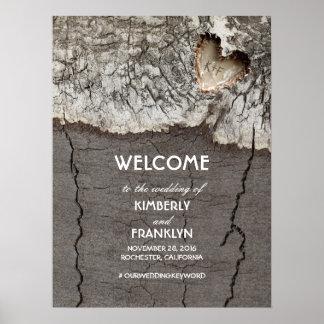 Poster Coeur en bois rustique épousant le signe bienvenu