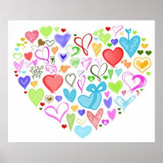 Poster Coeur fait de coeurs - rose rouge de vert bleu