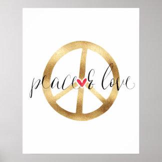 Poster Coeur inspiré de signe de paix d'or