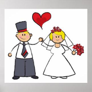 Poster Coeur mignon d'amour de marié de jeune mariée de
