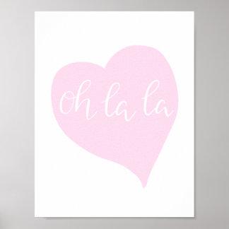 Poster Coeur mignon oh de La de rose Girly chic parisien