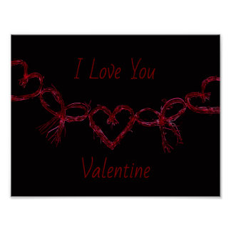 "Poster Coeurs rougeoyants rouges ""je t'aime Valentine """