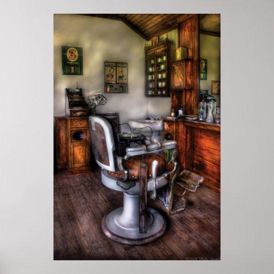 poster coiffeur la chaise de coiffeur. Black Bedroom Furniture Sets. Home Design Ideas