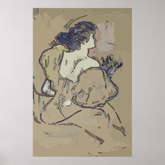 Poster Coiffeuse vintage de femme