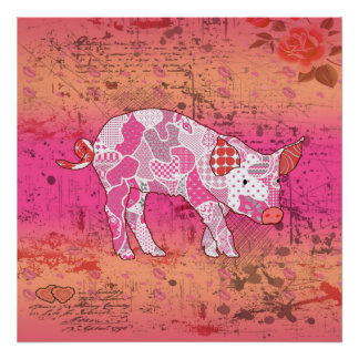 Poster Collage abstrait bavard le porc ID111