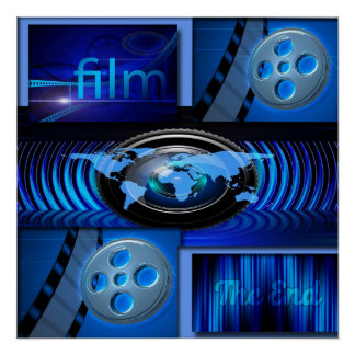 Poster Collage bleu de film