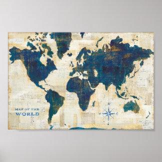 Poster Collage de carte du monde
