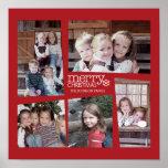 Poster Collage de vacances de 5 photos - rouge