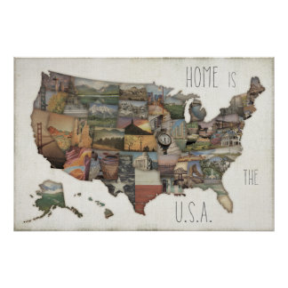 Poster Collage d'état des Etats-Unis