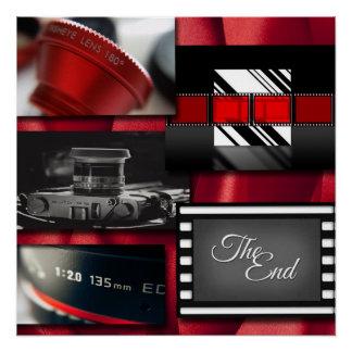 Poster Collage noir et blanc rouge de film