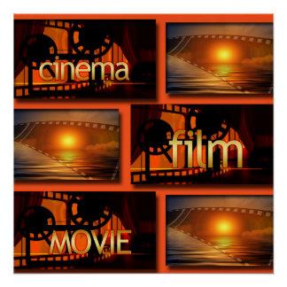Poster Collage orange et noir de film de film de cinéma