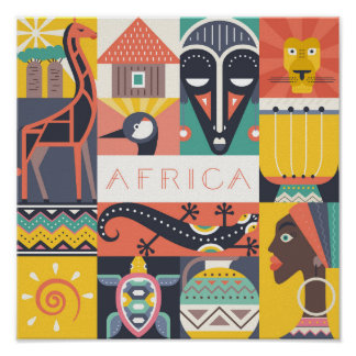 Poster Collage symbolique africain d'art
