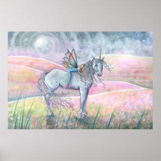 Poster Collines de licorne d'enchantement et d'art