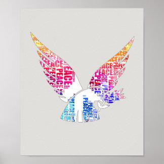Poster Colombe de paix. Aquarelle de hippie d'harmonie