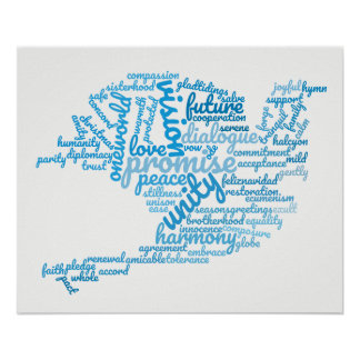 Poster Colombe élégante inspirée de nuage d'étiquette de