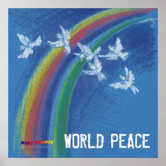Poster Colombes blanches volantes de la paix | du monde