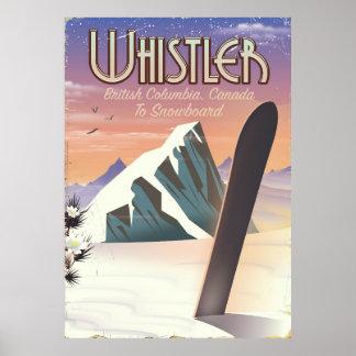 Poster Colombie-Britannique de Whistler faisant du surf