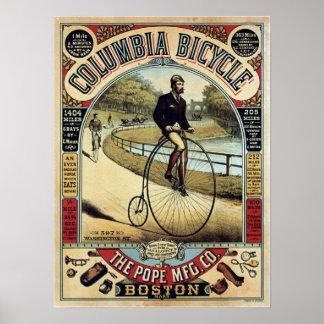 Poster Colombie vintage va à vélo la publicité