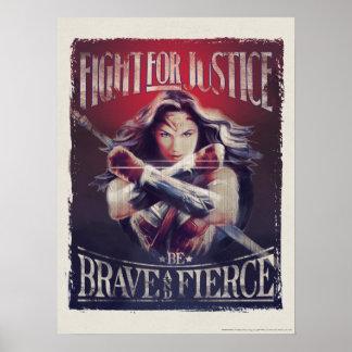Poster Combat de femme de merveille pour la justice