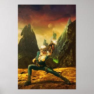 Poster Combattant femelle de la science fiction sur la
