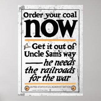 Poster Commandez votre charbon maintenant 1917