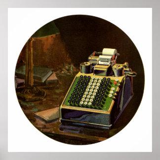 Poster Comptable vintage d'affaires, machine à
