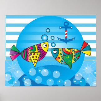 Poster Conception colorée abstraite nautique de poissons