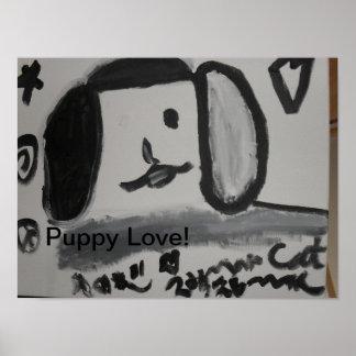 Poster Conception d'art d'amusement d'amour de chiot