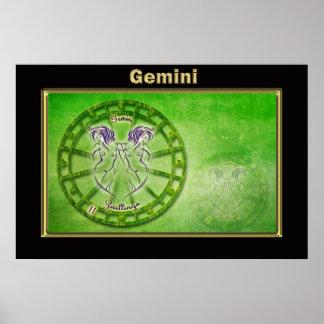 Poster Conception d'astrologie de zodiaque de Gémeaux