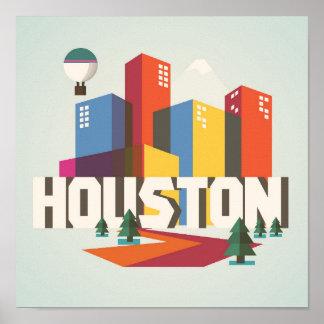 Poster Conception de Houston, paysage urbain du Texas  