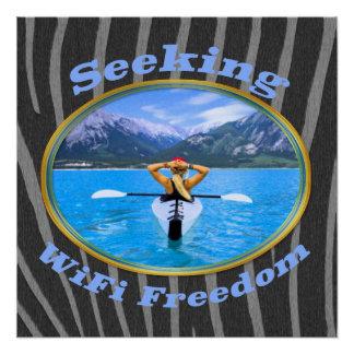 Poster Conception de recherche de Kayaker de liberté de