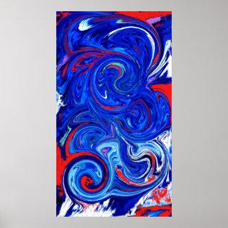 Poster Conception de remous d'abrégé sur bleu