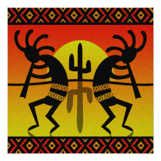 Poster Conception de sud-ouest de Kokopelli de cactus de