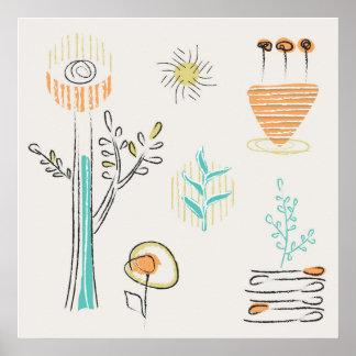Poster Conception décorative de griffonnage de plantes
