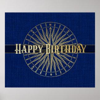 Poster Conception d'or de boussole de joyeux anniversaire