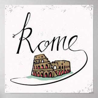 Poster Conception en lettres de main de Rome