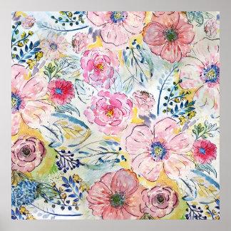 Poster Conception florale de peinture de main d'aquarelle