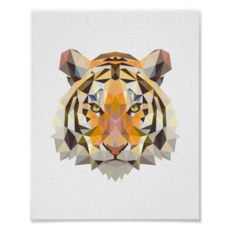 Poster Conception géométrique nordique de tigre