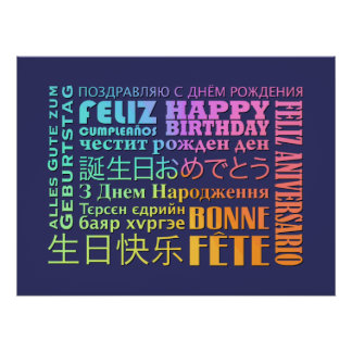 Poster Conception internationale de joyeux anniversaire
