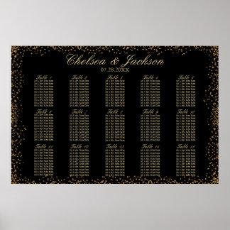 Poster Confettis d'or et noir - diagramme 15 de places