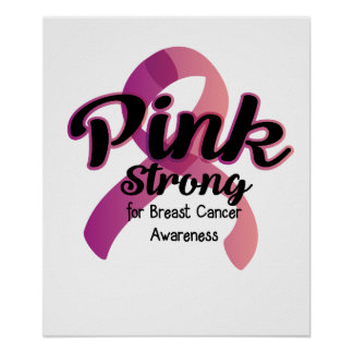 Poster Conscience forte rose de cancer du sein