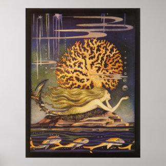 Poster Conte de fées vintage, petite sirène dans le