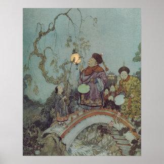 Poster Conte de fées vintage, rossignol par Edmund Dulac