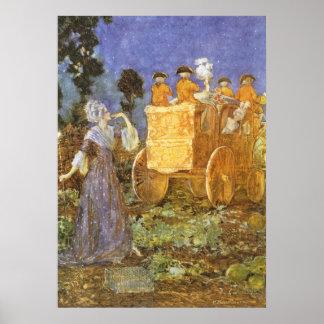 Poster Contes de fées vintages Cendrillon et marraine