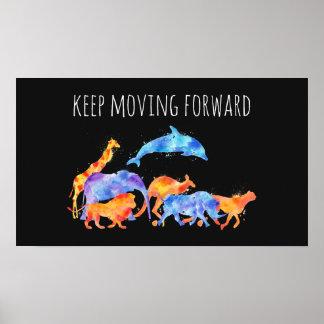 Poster Continuez à faire avancer l'aquarelle d'animaux