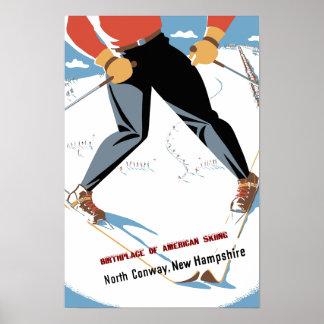 Poster Conway du nord, affiche de voyage du New Hampshire