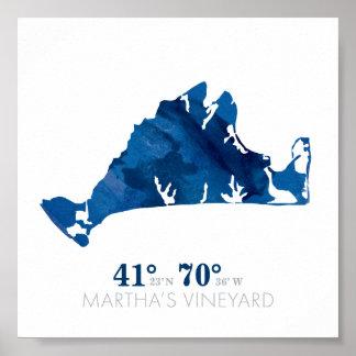 Poster Coordonnées bleues de Martha's Vineyard