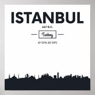Poster Coordonnées de ville d'Istanbul, Turquie  