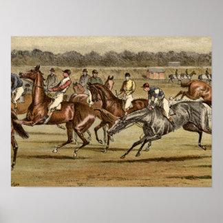 Poster Copie 1886 de course de chevaux de course