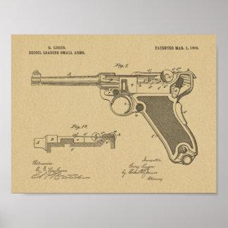Poster Copie 1904 de dessin d'art de brevet d'arme à feu